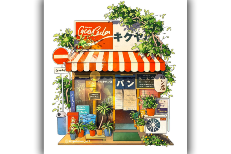 Artist,Japanese,Store,Structure,Illustrations,whimsical,Decorations,Angela Hao, Google Street View,Viral,